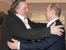 Russian President Vladimir Putin greets French actor Gerard Depardieu during their meeting in Sochi